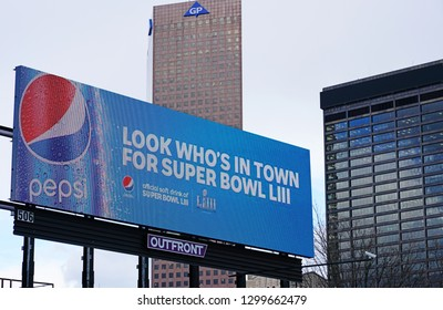 ATLANTA, GA -4 JAN 2019- View of a street sign advertising Pepsi as the official beverage of the NFL Superbowl LIII 53 football championship to take place in Atlanta, home of Coca Cola.