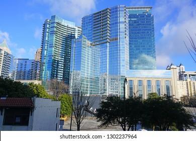 ATLANTA, GA -4 JAN 2019- View of the PWC and Loews building located in downtown Atlanta, Georgia.