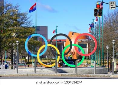 ATLANTA, GA -4 JAN 2019- View of the Centennial Olympic Park, built for the 1996 Summer Olympics, located in downtown Atlanta, Georgia.