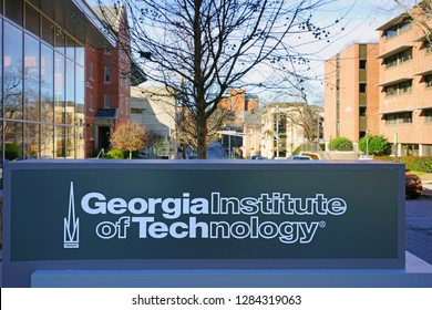 ATLANTA, GA -6 JAN 2019- View of the campus of the Georgia Institute of Technology (Georgia Tech), a leading public research university located in the Midtown neighborhood of Atlanta, Georgia.