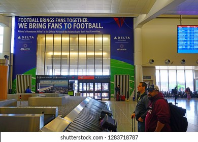 ATLANTA, GA -7 JAN 2019-  View of a sign welcoming fans to the NFL Superbowl LIII 53 at the Hartsfield–Jackson Atlanta International Airport (ATL), a hub for Delta Airlines (DL).