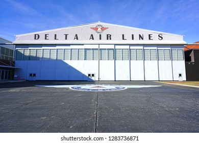 ATLANTA, GA -7 JAN 2019- View of the Delta Flight Museum, with vintage planes and aviation memorabilia, located at the Hartsfield-Jackson Atlanta International Airport (ATL), the main hub for Delta.