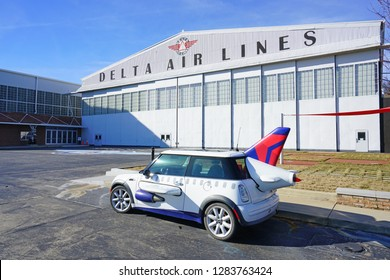 ATLANTA, GA -7 JAN 2019- View of an Austin Mini Cooper car shaped like an airplane with wings in front of the Delta Flight Museum at the Hartsfield-Jackson Atlanta International Airport (ATL).
