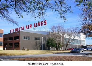 ATLANTA, GA -7 JAN 2019- View of the headquarters of Delta Airlines (DL), located at the Hartsfield-Jackson Atlanta International Airport (ATL), the main hub for Delta.