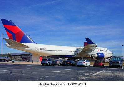 ATLANTA, GA -7 JAN 2019- View of a Boeing 747-400 airplane from Delta Airlines (DL) at the Delta Flight Museum, located at the Hartsfield-Jackson Atlanta International Airport (ATL).