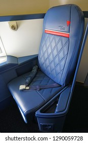 ATLANTA, GA -7 JAN 2019- Interior view of a Boeing 747-400 airplane from Delta Airlines (DL) at the Delta Flight Museum, located at the Hartsfield-Jackson Atlanta International Airport (ATL).