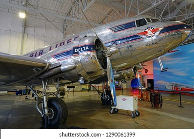 ATLANTA, GA -7 JAN 2019- View of a vintage DC3 airplane from Delta Airlines (DL) at the Delta Flight Museum, located at the Hartsfield-Jackson Atlanta International Airport (ATL).