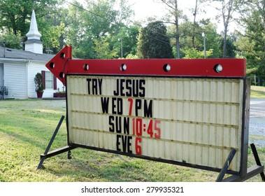 ATLANTA, GA -9 MAY 2015- ATLANTA, GA -9 MAY 2015- TRY JESUS sign in front of a church in Atlanta, Georgia, in the south of the United States.