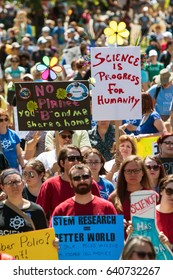 ATLANTA, GA - APRIL 22:  Thousands crowd Candler Park and hold up signs as they take part in a rally preceding the Atlanta March for Science on Earth Day on April 22, 2017 in Atlanta, GA.