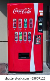 ATLANTA, GA - AUG 8: A Coke machine in Atlanta, Georgia on August 8, 2011. The Coca-Cola company will begin installing energy reducing LED lighting in their new vending machines starting in 2012.