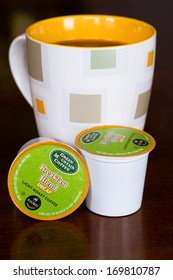 ATLANTA, GA -- JAN. 5, 2014: Cup of coffee made with Green Mountain Coffee single-serve K-cups using a Keurig brewing machine.