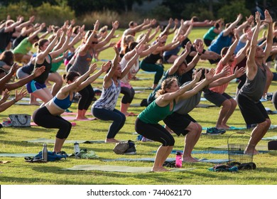 ATLANTA, GA - JULY 2:  Dozens of people do the downward-facing dog pose as they take part in a free group yoga class at the Old Fourth Ward Park on July 2, 2017 in Atlanta, GA.