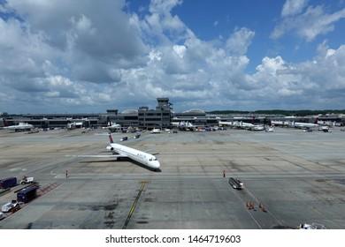 ATLANTA, GA - JULY 7, 2019: The Atlanta Hartsfield-Jackson airport a transportation hub for Delta Airlines and others.