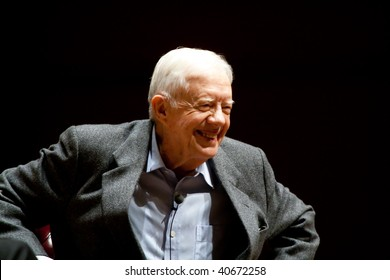 ATLANTA, GA - NOVEMBER 10: President Jimmy Carter speaks onstage at Emory University November 10, 2008 in Atlanta, Ga.