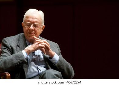 ATLANTA, GA - NOVEMBER 10: President Jimmy Carter speaks onstage at Emory University November 10, 2008 in Atlanta, Ga.