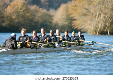 ATLANTA, GA - NOVEMBER 22:  The women's crew team from Emory University rows down the Chattahoochee River to warm up for an upcoming race against another  team on November 22, 2014 in Atlanta, GA.