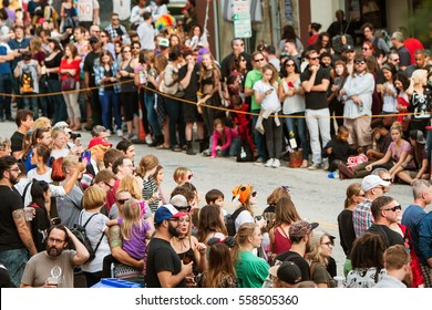 ATLANTA, GA - OCTOBER 15:  Hundreds of spectators line the parade route as they wait for the start of the annual Little Five Points Halloween parade, on October 15, 2016 in Atlanta, GA.