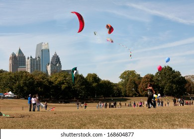 ATLANTA, GA - OCTOBER 26:  Composite shows multiple kites flying over Piedmont Park combined into one image, as people take part in the World Kite Festival on October 26, 2013 in Atlanta, GA.