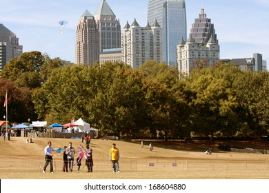 ATLANTA, GA - OCTOBER 26:  People fly kites in the World Kite Festival, at Piedmont Park on October 26, 2013 in Atlanta, GA.  The event was free and open to the public.