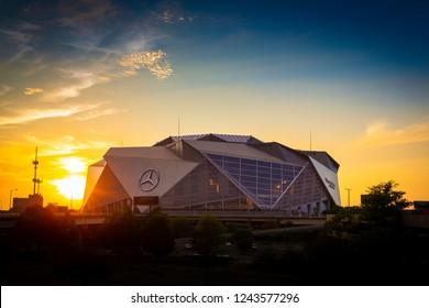 ATLANTA, GA - September 29, 2018: Mercedes-Benz Stadium. Mercedes-Benz Stadium is the home of the Atlanta Falcons NFL team and holds the record for the world's largest halo board.