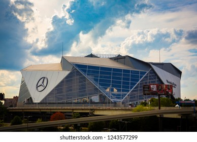 ATLANTA, GA - September 29, 2018: Mercedes-Benz Stadium on September 29, 2018 in Atlanta. Mercedes-Benz Stadium is the home of the Atlanta Falcons NFL team and will host Super Bowl LIII in 2019