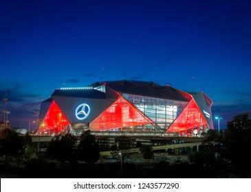 ATLANTA, GA - September 29,2018: Mercedes-Benz Stadium on September 29, 2018 in Atlanta. Mercedes-Benz Stadium is the home of the Atlanta Falcons NFL team and has a unique eight-panel retractable roof