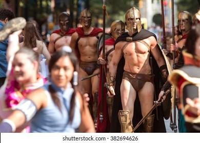 ATLANTA, GA - SEPTEMBER 5:  Muscular men dressed like Spartan warriors from the movie 300, walk in the annual Dragon Con Parade on September 5, 2015 in Atlanta, GA.