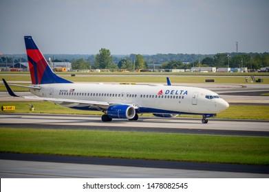 Atlanta, GA, US - August 11, 2019: Delta Boeing 737 Departing Atlanta Airport