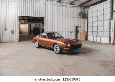 Atlanta, GA / US - July 21, 2018: Datsun 280z at a property being renovated to become a new mechanic shop