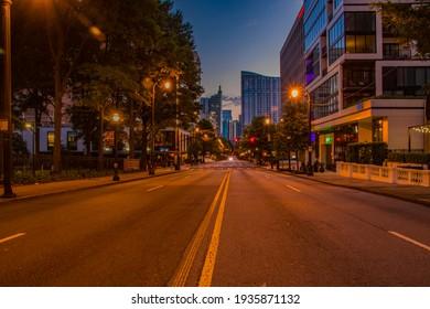 Atlanta, Ga USA - 06 14 20: Downtown Atlanta night covid-19 lockdown center street view city skyline and lights