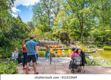ATLANTA, GA, USA -  APRIL, 23 2016: Exhibition of glass artist Chihuly takes place in the Atlanta Botanical Garden in Atlanta, Georgia in 2016.