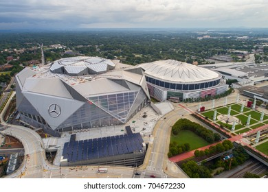 ATLANTA, GA, USA - AUGUST 10,2017: Aerial image Atlanta Georgia Dome and Mercedes Benz Stadium