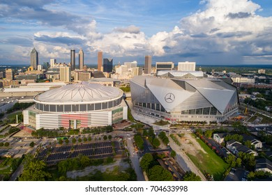 ATLANTA, GA, USA - AUGUST 11, 2017: Aerial image of sports arenas at Downtown Atlanta GA