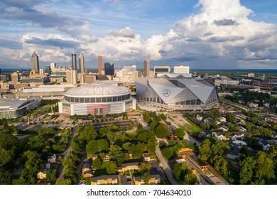 ATLANTA, GA, USA - AUGUST 11, 2017: Aerial drone image of the Georgia Dome and Mercedes Benz Arena
