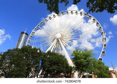 Atlanta, GA, USA - August 18, 2017: SkyView Atlanta Ferris wheel - 20-story Ferris wheel in Centennial Park providing scenic views from climate-controlled gondolas
