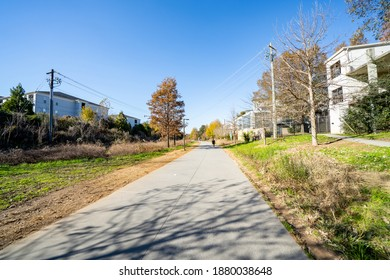 ATLANTA, GA, USA - DECEMBER 12, 2020: Atlanta GA fitness path on the Beltline