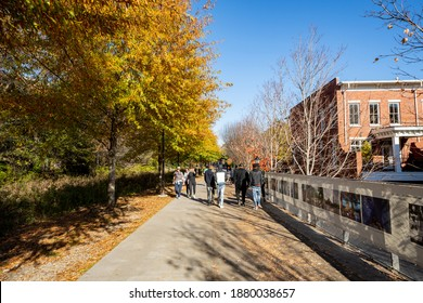 ATLANTA, GA, USA - DECEMBER 12, 2020: People walking on the Atlanta GA Beltline pathway near downtown