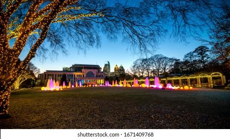 ATLANTA, GA/ USA - Jan. 5, 2020: Holiday lights on display at the Atlanta Botanical Gardens on Jan. 6, 2020.