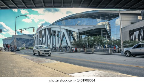 Atlanta, GA / USA - June 27, 2019:  State Farm Arena on 2019 NBA Draft Night in downtown Atlanta, Georgia.