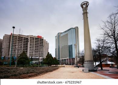 ATLANTA, GA, USA, MARCH 4, 2014 - View to CNN Center headquarter and Omni Hotel on March 4, 2014 in Atlanta, GA, USA.