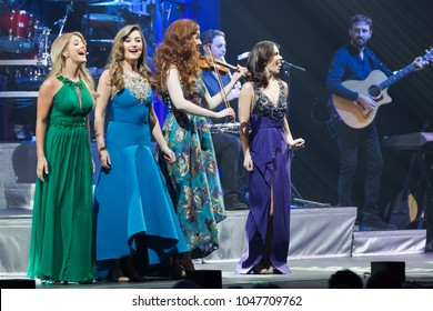 ATLANTA, GA, USA - MARCH, 9TH 2017: an all-female Irish ensemble Celtic Woman performs on stage at the Fox Theatre.