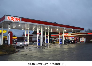 Atlanta, GA/USA - Circa July 2018: Exxon Retail Gas Location. ExxonMobil is the World's Largest Oil and Gas Company.