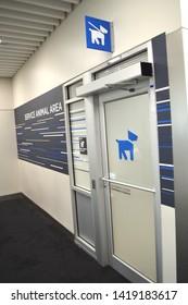 Atlanta, GA-USA May 10,2019: Petcare and Restroom facility for dogs in Atlanta-Hartsfield Airport.