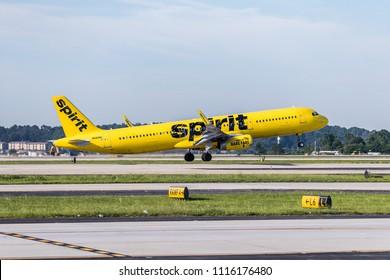 Atlanta, Georgia - 06/17/2018: Spirit Airlines Airbus 321 Departing