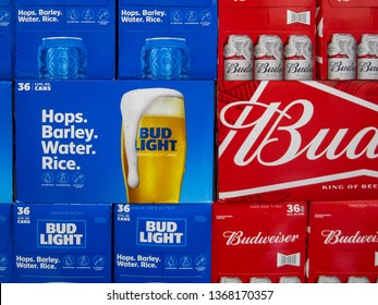 ATLANTA, GEORGIA - APRIL 13, 2019 : Bud Light and Budweiser 36 Pack beer cans on display at local grocery store. Bud Light and Budweiser are among the top selling domestic beers in the United States.