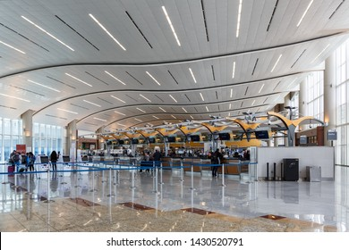 Atlanta, Georgia – April 2, 2019: International Terminal at Atlanta Airport (ATL) in the United States.
