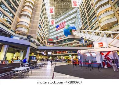 ATLANTA, GEORGIA - AUGUST 2, 2016: CNN Center in Atlanta. The building is world headquarters for CNN.