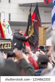 """Atlanta, Georgia - December 10, 2018: Gerardo """"Tata"""" Martino, headcoach for the Atlanta United FC, drives the golden spike during the victory rally for the MLS Cup Championship."""