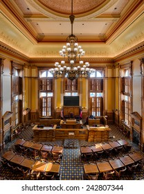 ATLANTA, GEORGIA - DECEMBER 2: Senate Chamber in the Georgia State Capitol building on December 2, 2014 in Atlanta, Georgia