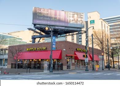 Atlanta, Georgia: December 20, 2019:  A Waffle House fast food restaraunt in the city of Atlanta.  Waffle House is a fast food chain.